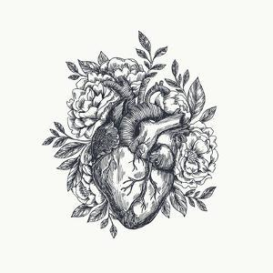 Valentines Day Card. Anatomical Heart with Flowers. Vector Illustration by adehoidar