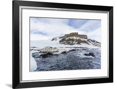 Adelie Penguins (Pygoscelis Adeliae) at Breeding Colony at Brown Bluff, Antarctica, Southern Ocean-Michael Nolan-Framed Photographic Print