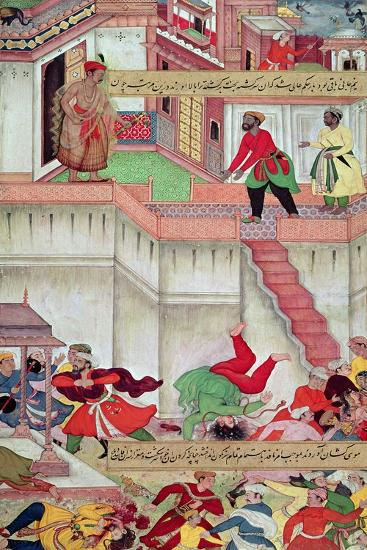 Adham Khan Being Thrown from the Walls of Agra, from the `Akbarnama', Mughal--Giclee Print