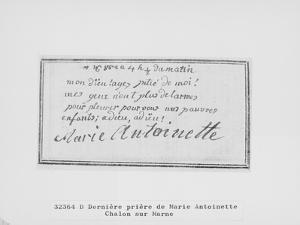 Adieu de Marie-Antoinette à ses enfants inscrit sur son livre de prière