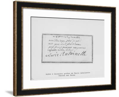 Adieu de Marie-Antoinette à ses enfants inscrit sur son livre de prière--Framed Giclee Print