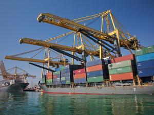 Container Port, Port of Barcelona, Barcelona, Catalonia, Spain, Europe by Adina Tovy