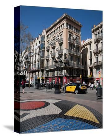Pavement Mosaic by Joan Miro on Las Ramblas, Barcelona, Catalonia, Spain, Europe