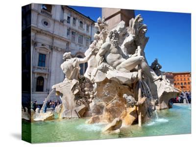 The Four Rivers Fountain in Piazza Navona, Rome, Lazio, Italy, Europe