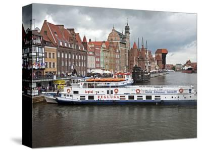 View Along River Motlawa Showing Harbour and Old Hanseatic Architecture, Gdansk, Pomerania, Poland