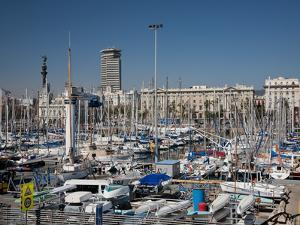 View of Port Vell Showing Columbus Monument, Barcelona, Catalonia, Spain, Europe by Adina Tovy