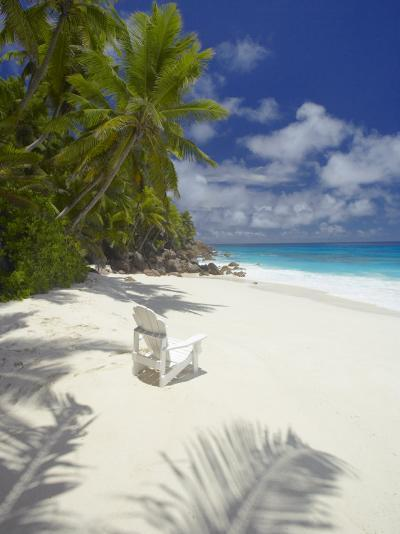 Adirondack Chair and Tropical Beach, Seychelles, Indian Ocean, Africa-Sakis Papadopoulos-Photographic Print