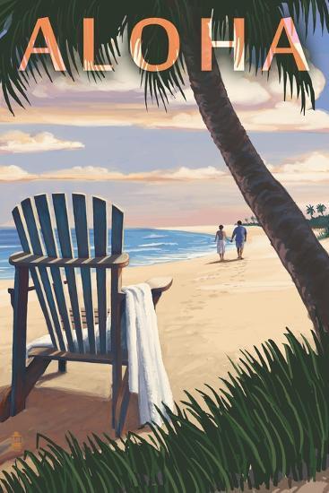 Adirondack Chairs and Sunset - Aloha-Lantern Press-Art Print