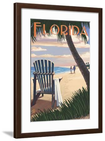 Adirondack Chairs and Sunset - Florida-Lantern Press-Framed Art Print