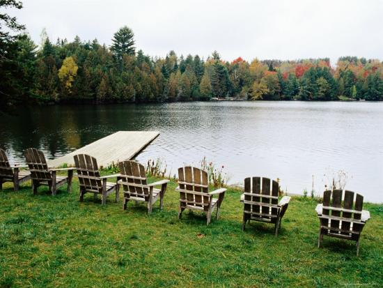 Adirondack Chairs in Row by Lake, Northeast Kingdom Photographic Print by  Emily Riddell   Art.com