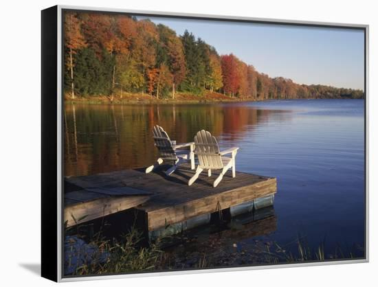 Adirondack Chairs on Dock at Lake Framed Canvas Print by Ralph Morsch    Art.com