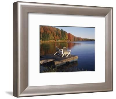 Adirondack Chairs on Dock at Lake-Ralph Morsch-Framed Photographic Print