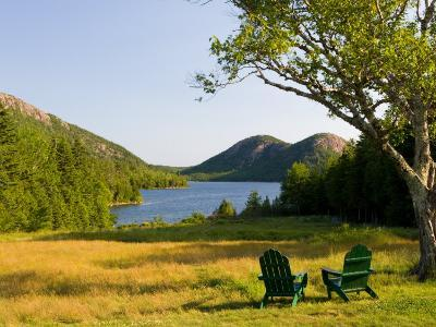 Adirondack Chairs on the Lawn of the Jordan Pond House, Acadia National Park, Mount Desert Island-Jerry & Marcy Monkman-Photographic Print