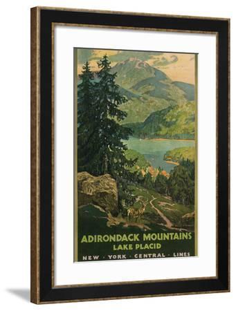 Adirondack Mountains, Lake Placid, Railroad Poster--Framed Art Print