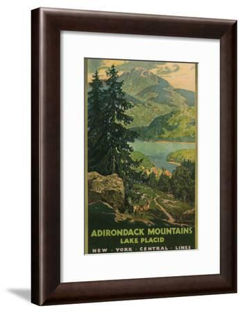 Adirondack Mountains, Lake Placid, Railroad Poster--Framed Premium Giclee Print