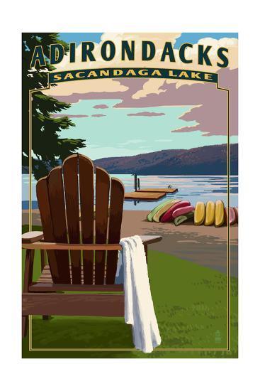 Adirondack Mountains, New York - Sacandaga Lake Adirondack Chair-Lantern Press-Art Print
