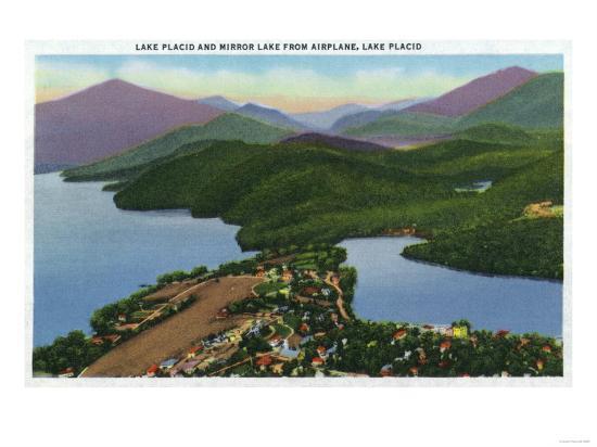 Adirondack Mts, New York - Aerial View of Lakes Placid and Mirror-Lantern Press-Art Print