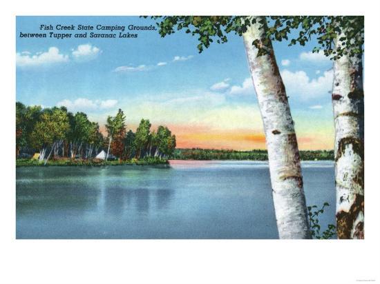 Adirondack Mts, New York - View of Fish Creek State Camping Grounds-Lantern Press-Art Print