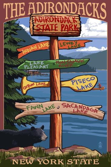Adirondack, New York - Indian Lake Signpost Destinations-Lantern Press-Wall Mural