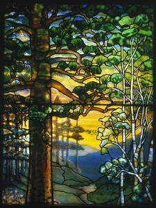 Landscape Window by Tiffany Studios Depicting a Meandering Stream Shaded by Towering Fir Trees by Adler & Sullivan