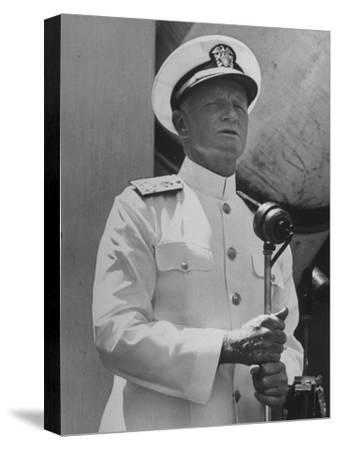 Adm. Chester with Nimitz of the US Navy Giving a Speech to British Officers and Men