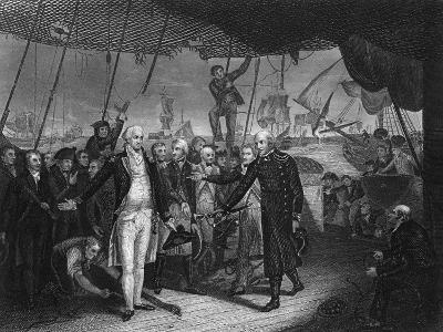 Admiral De Winter Resigning His Sword on Board the 'Venerable, 11 October 1797-H Lemon-Giclee Print