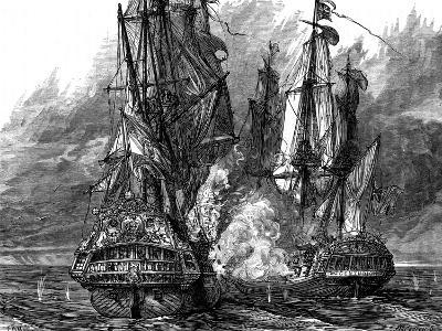 Admiral George Anson in the 'Centurion' Taking a Spanish Galleon Off the Philippines, 1743--Giclee Print
