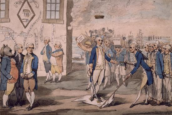 Admiral George Rodney Trampling on French Flag after Victory at Battle of the Saintes--Giclee Print