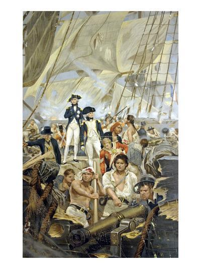Admiral Nelson and Captain Hardy During Trafalgar--Giclee Print