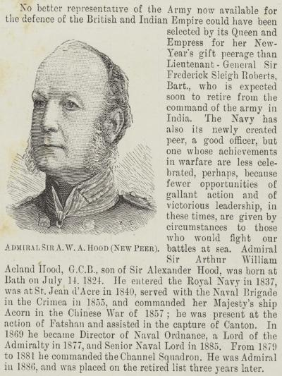 Admiral Sir a W a Hood, New Peer--Giclee Print