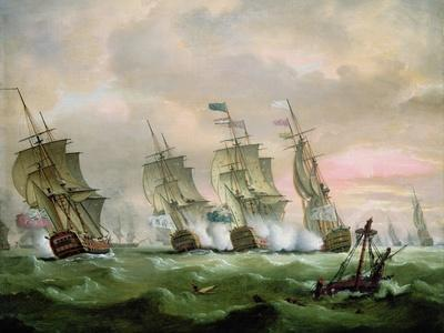 Admiral Sir Edward Hawke Defeating Admiral M. De Conflans in the Bay of Biscay-Thomas Luny-Giclee Print