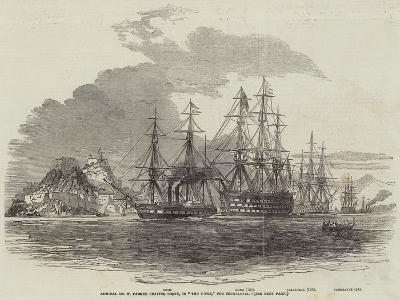 Admiral Sir W Parker Leaving Corfu, in The Howe, for Cephalonia--Giclee Print
