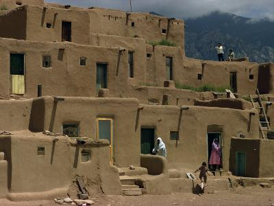 Adobe Buildings of Taos Pueblo, Dating from 1450, UNESCO World Heritage Site, New Mexico, USA-Woolfitt Adam-Photographic Print