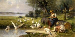 Woman and Geese; Madchen und Gansen by Adolf Ernst Meissner
