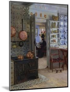 A Woman Reading in an Interior by Adolf Heinrich Claus Hansen
