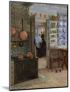 A Woman Reading in an Interior by Adolf Heinrich Hansen