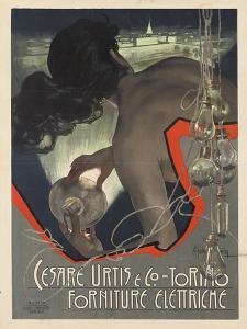 Werbeplakat für den italienischen Leuchtmittelhersteller 'Cesare Urtis & Co.' 1889 by Adolf Hohenstein