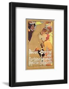 Dover- Ostend Line', Poster Advertising Travel Between England and Belgium on Princesse Elisabeth by Adolfo Hohenstein