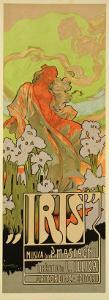 """Reproduction of a Poster Advertising """"Iris,"""" a Comical Opera, 1898 by Adolfo Hohenstein"""