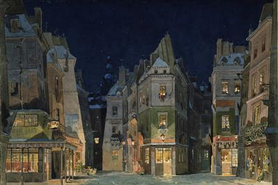 Set design for Act 2 of La Bohème, Opera by Giacomo Puccini