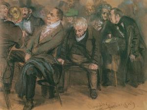 Bourgeois Germans in a Public Meeting, 1849 by Adolph Friedrich Erdmann von Menzel