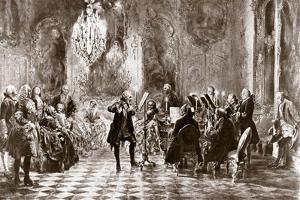 Frederick the Great and his court making music by Adolph Friedrich Erdmann von Menzel