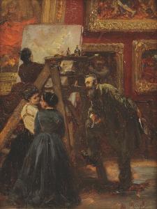 In the Louvre, 1867 by Adolph Friedrich Erdmann von Menzel