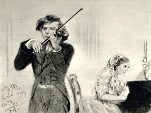 JOACHIM Joseph playing by Adolph Friedrich Erdmann von Menzel