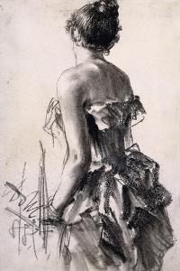 Rear View of a Woman; Ruckenansicht Einer Dame, 1888 by Adolph Friedrich Erdmann von Menzel