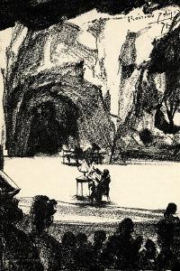 Richard Wagner at a by Adolph Friedrich Erdmann von Menzel