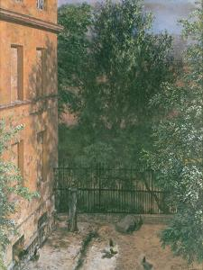 View of a Small Yard by Adolph Friedrich Erdmann von Menzel