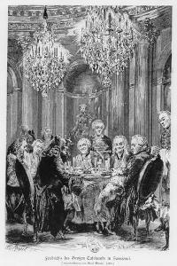 Voltaire Seated Next to King Frederick II at the Château De Sans Souci, Potsdam, Germany, 1878 by Adolph Friedrich Erdmann von Menzel