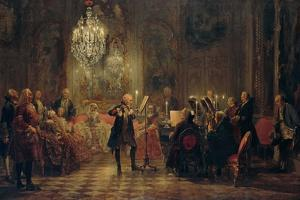 Flute Concert with Frederick the Great in Sanssouci, 1850-1852 by Adolph Friedrich von Menzel