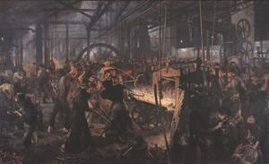 Iron Rolling Mill by Adolph Menzel